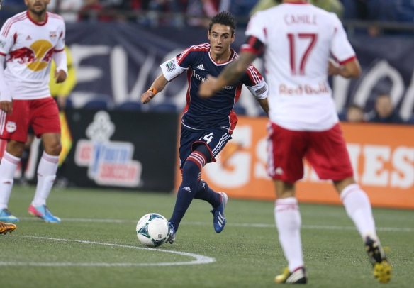 New England's Diego Fagundez found his second goal of the season Saturday, but it would not be enough to send the NY Red Bulls home with no points. (Photo: David Silverman)